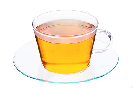 Cup of tea on white background  Studio shot photo