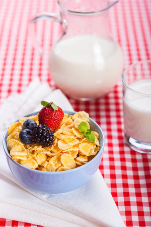 Close-up of homemade cornflakes with strawberry, blueberries,  blackberry and milk, vertical stock photo photo