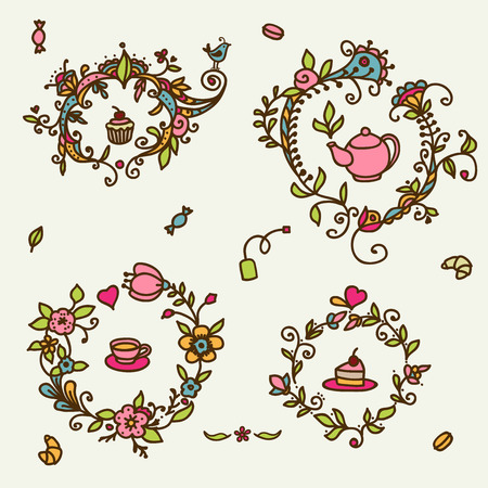 Flower sweet tea pattern  Vector