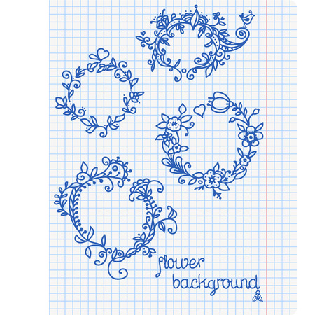 Ornate frames and borders on a squared paper background  Illustration