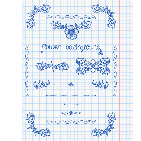 Ornate frames and borders on a squared paper background  Vector