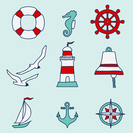 sea gull: Pattern with nautical elements  Vector illustration