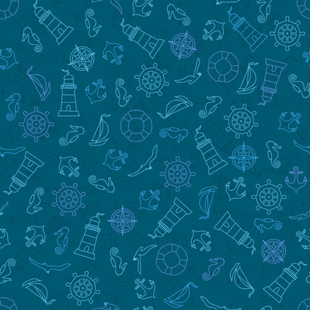 Seamless pattern with nautical elements  Vector illustration Vector