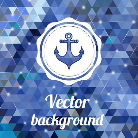 Label with anchor on color background made of triangles  Vector background with geometric shapes  Vector