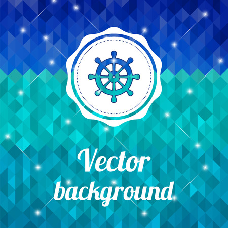 Label with wheel on color background made of triangles  Vector background with geometric shapes  Vector