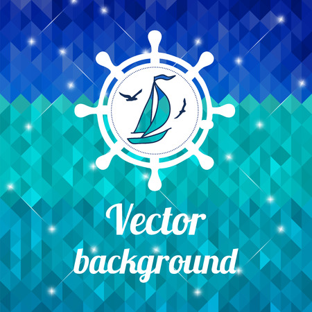Label with yacht on color background made of triangles  Vector background with geometric shapes  Vector