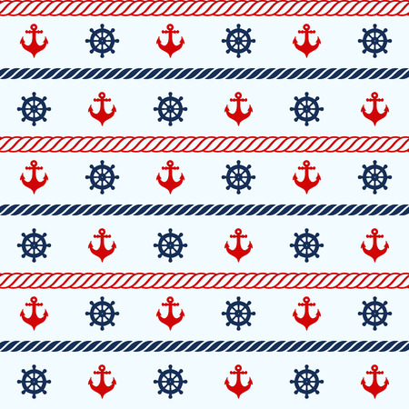 Seamless pattern with nautical elements. Vector illustration Vector