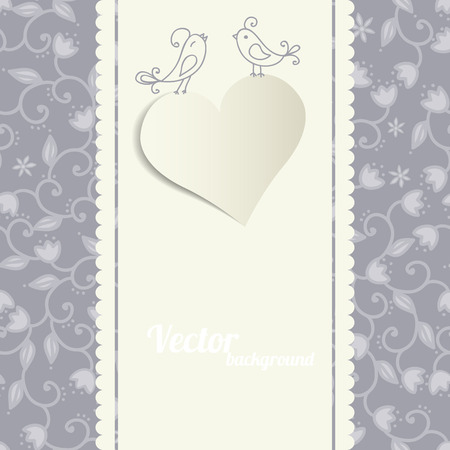 Card with a heart. Floral Background. Vector greeting card. Wedding invitation.  Vector