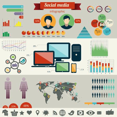 network marketing: Social network infographics set. Vector illustration