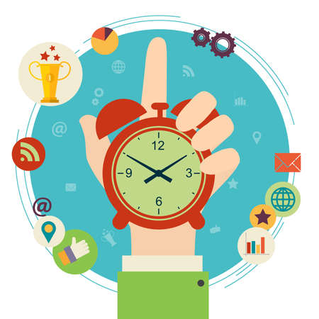 manager: Flat design illustration concept for time management. Hand hold clock.