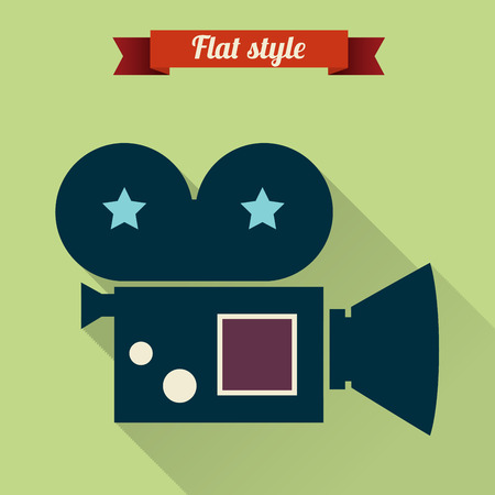 Retro cinema camera icon. Flat design Vector
