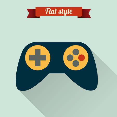 Flat design illustration with game pad icon. Vector