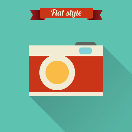 Flat design illustration with photo camera icon. Vector