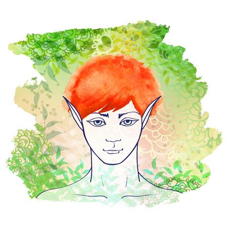 a literary sketch: Redhead elf. Fantasy vector character.