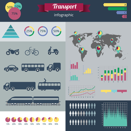 sity: Sity transport infographics set. Vector illustration Illustration