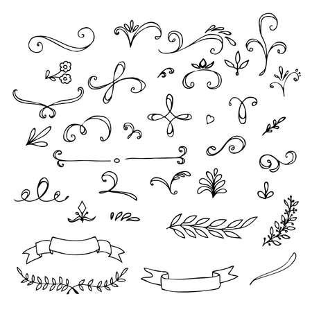 boceto: Hand Drawn elementos florales vintage. Remolinos, hojas, ramas, banners y rizos. Vector