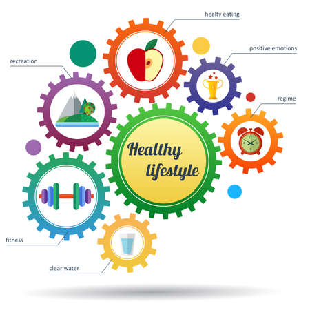 buen vivir: Un conjunto moderno de estilo de vida saludable infografía y los iconos. Diseño infográfico abstracta. Transmisión de engranajes y símbolos estilo de vida saludable. Vectores