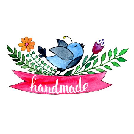printing logo: Handmade. Original custom hand lettering. Handmade calligraphy, vector. Illustration for logo, brochure and other printing projects. Illustration