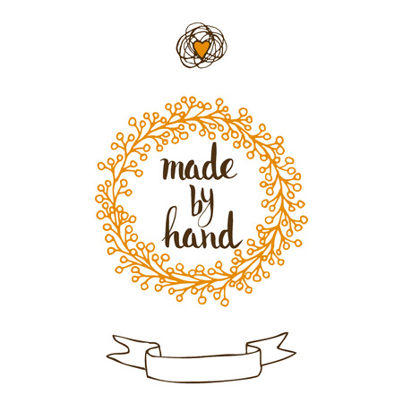 manually: Handmade. Original custom hand lettering. Handmade calligraphy, vector. Illustration for logo, brochure and other printing projects. Illustration