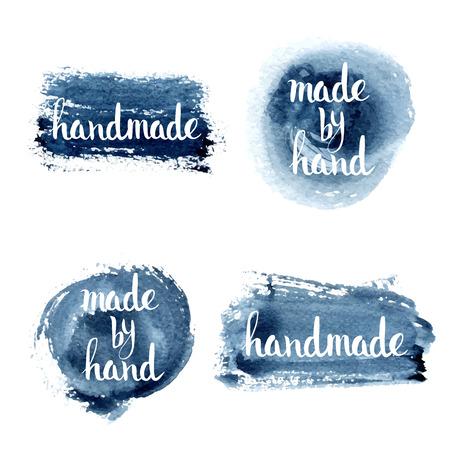 Handgemaakt. Originele maat met de hand belettering. Handgemaakte kalligrafie, vector. Illustratie voor logo, brochure en ander drukwerk projecten. Stock Illustratie