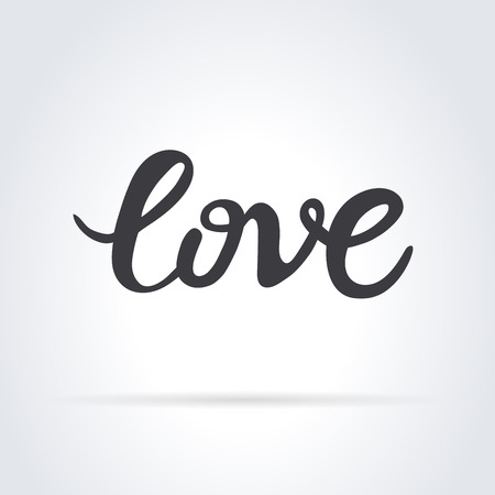 Love. Original custom hand lettering. Handmade calligraphy, vector. Illustration for logo, brochure and other printing projects.