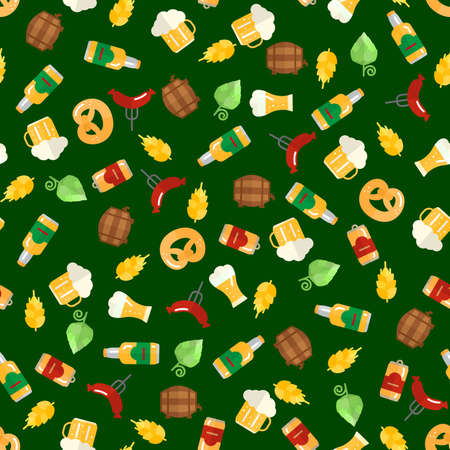 barley hop: Beer icons seamless pattern (hop branch, wooden barrel, glass of beer, beer can, bottle cap, beer mug, barley). Oktoberfest background.