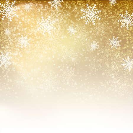 Fondo del oro con los copos de nieve. Ilustración del vector para carteles, iconos, tarjetas de felicitación, impresión y proyectos web.