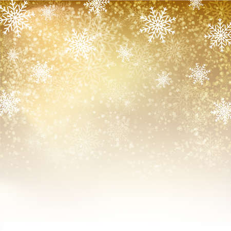 natale: Fondo oro con i fiocchi di neve. Illustrazione vettoriale per manifesti, icone, biglietti di auguri, di stampa e progetti web. Vettoriali