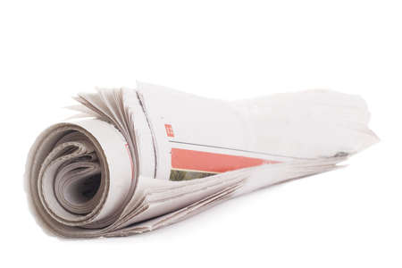 broadsheet: Rolled newspaper. Isolated on a white background