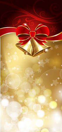 Jingle bells with red bow on a shines background  illustration
