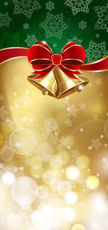 new year scroll: Jingle bells with red bow on a shines background illustration