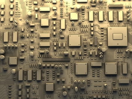 mainboard: Fantasy circuit board. Top view. 3d illustration Stock Photo