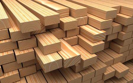 forest products: Construction materials. Closeup wooden boards. Industrial 3d Illustration