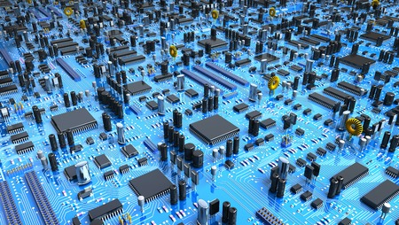 processors: Fantasy circuit board or mainboard or mother board with a lot of chips and processors