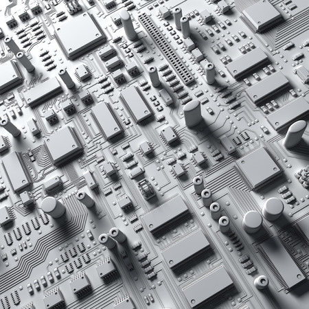 circuitry: Fantasy circuit board or mainboard or mother board. Technology 3d illustration Stock Photo