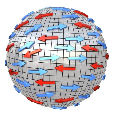 magnetic clip: Red and blue arrows on abstract globe. Arrows moves in different direction. Conceptual 3d illustration