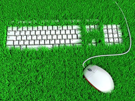 Ergonomic keyboard for comfortable freelance work. conceptual illustration Stock Photo