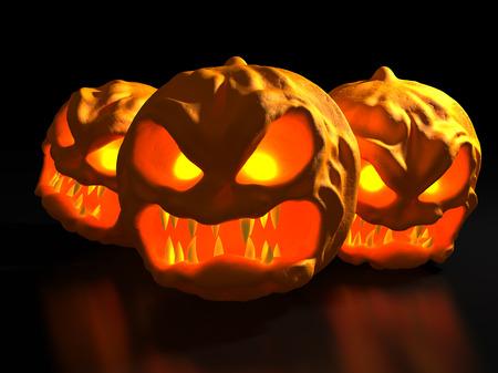 luminescence: Three Halloween monster pumpkins. Fantasy horror 3d illustration. Stock Photo