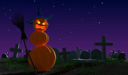 luminescence: Halloween monster pumpkins at  cemetery. Fantasy 3d illustration.
