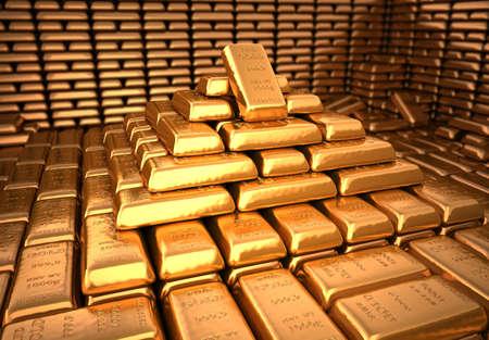 lingotes de oro: Bóveda de un banco con una gran cantidad de lingotes de oro. Finanzas y 3d ilustración inversión