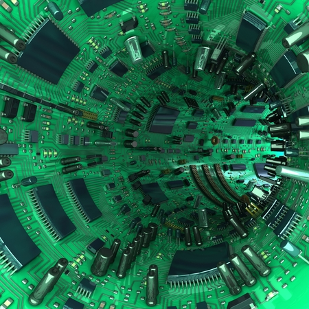 electrical parts: High technology tunnel made of mainboards and electrical parts. 3d illustration Stock Photo