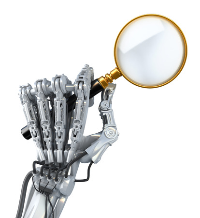 seeks: Closeup robotic arm. Robot seeks abstract information and uses magnifier.  Conceptual High Technology 3d illustration