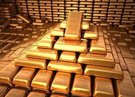lingotes de oro: Bóveda de un banco lleno de lingotes de oro. Ilustración de finanzas Foto de archivo