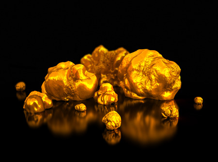 nuggets: Closeup golden nuggets on black background. Finance 3d illustration