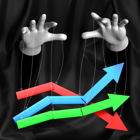 Global conspiracy in the business. Magician manages a rising and falling markets.Conceptual illustration Stock Photo