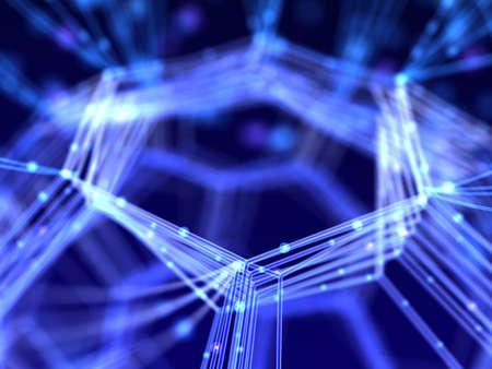 forschung: Nahaufnahme Netzwerk. Abstrakt Nanotechnologie 3D-Darstellung. Lizenzfreie Bilder