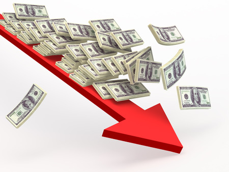 downturn: Dollar falling  along  arrow down. Conceptual business and finance 3d illustration Stock Photo