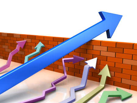 overcome a challenge: Business overcomes obstacles applying different strategy. Blue arrow goes across brick wall. Conceptual 3d  illustration about success in business