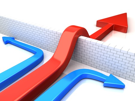 obstacles: Business overcomes obstacles applying different strategy. conceptual 3d  illustration Stock Photo