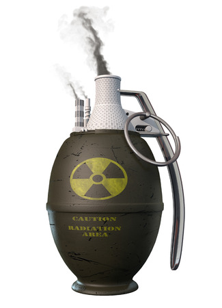 Atomic energy - potential  bomb. Conceptual metaphoric 3d illustration Stock Photo